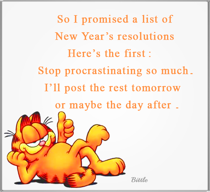 funny garfield new years resolution quote