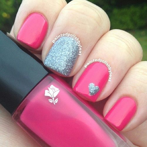 Hot Pink And Black Bedroom Punk Girly: Hot Pink And Silver Glitter Nails Pictures, Photos, And