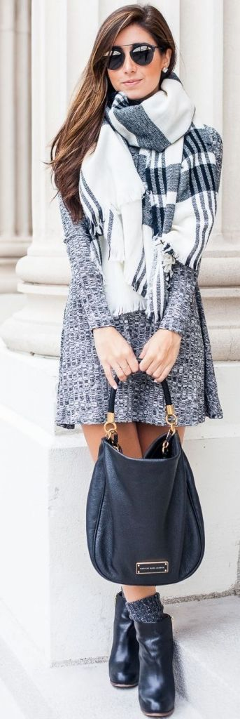 Gray Wool Dress With Black And White Checkered Scarf