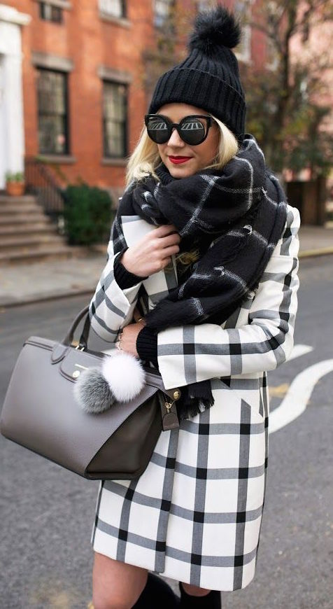 White And Black Plaid Coat With Black Plaid Scarf Pictures, Photos ...