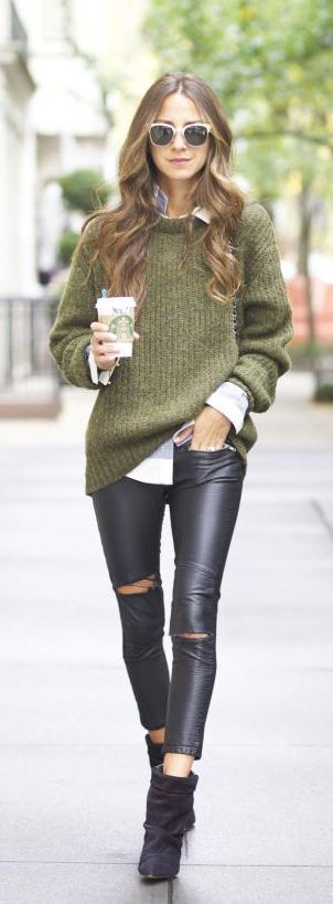 Olive Green Outfit Of The Day: Olive Green Sweater With Black Pants Pictures, Photos, And