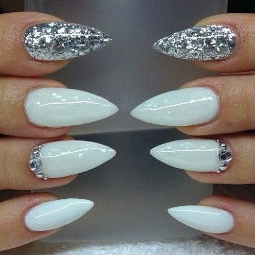 Silver white stiletto nails pictures photos and images for silver white stiletto nails solutioingenieria Image collections