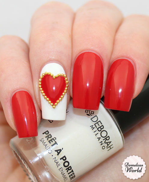 French Manicure Red Carpet Studded Heart Nail Art Pictures Photos