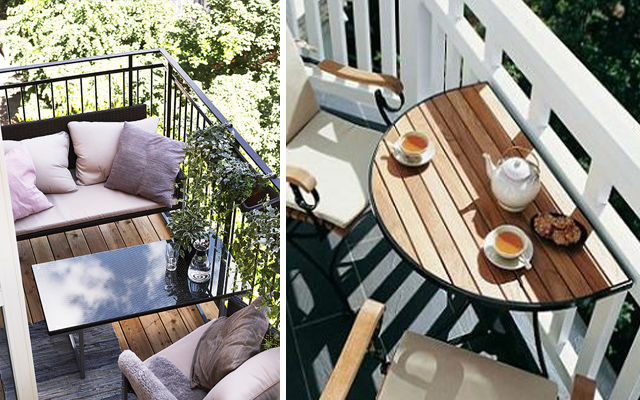 Small Balcony With Bench And Table
