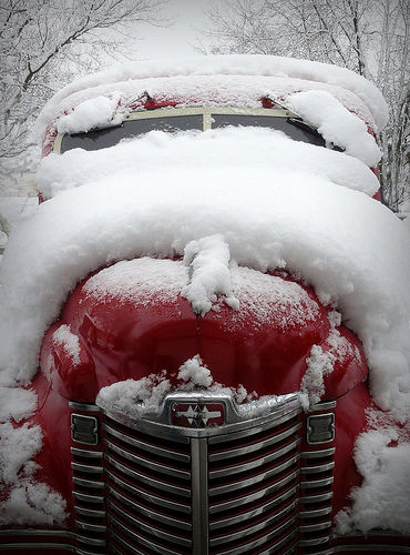Classic Car Under The Snow Pictures, Photos, And Images