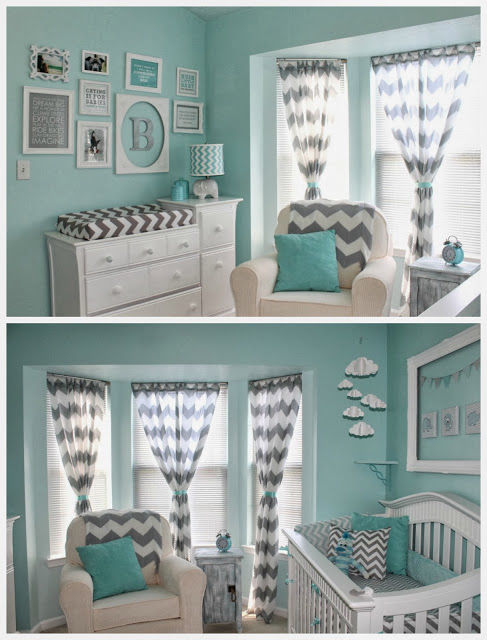 Aqua and grey nursery pictures photos and images for - Baby deko mint ...