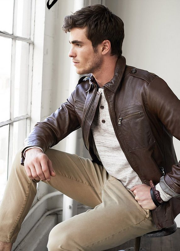 brown leather jacket with tan jeans pictures photos and