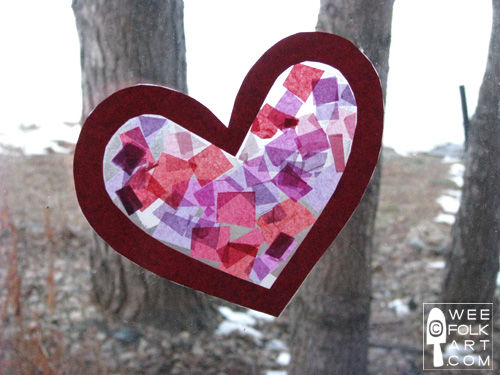 Tissue paper stained glass hearts pictures photos and for Stained glass window craft with tissue paper