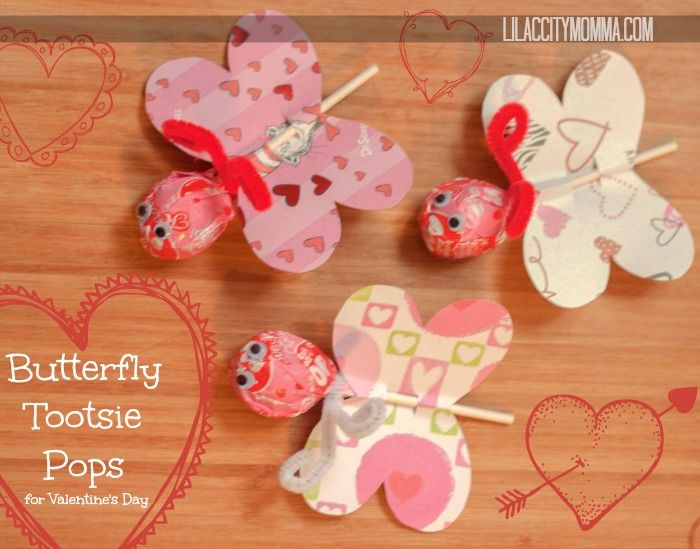 Butterfly Tootsie Pop Valentines Day Cards