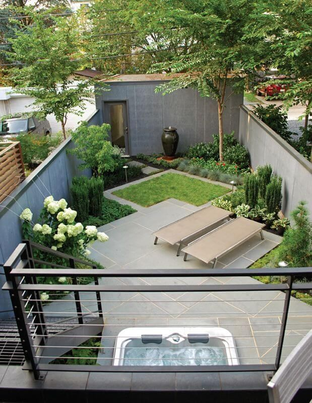 Green Garden Backyard With Patio And Hottub