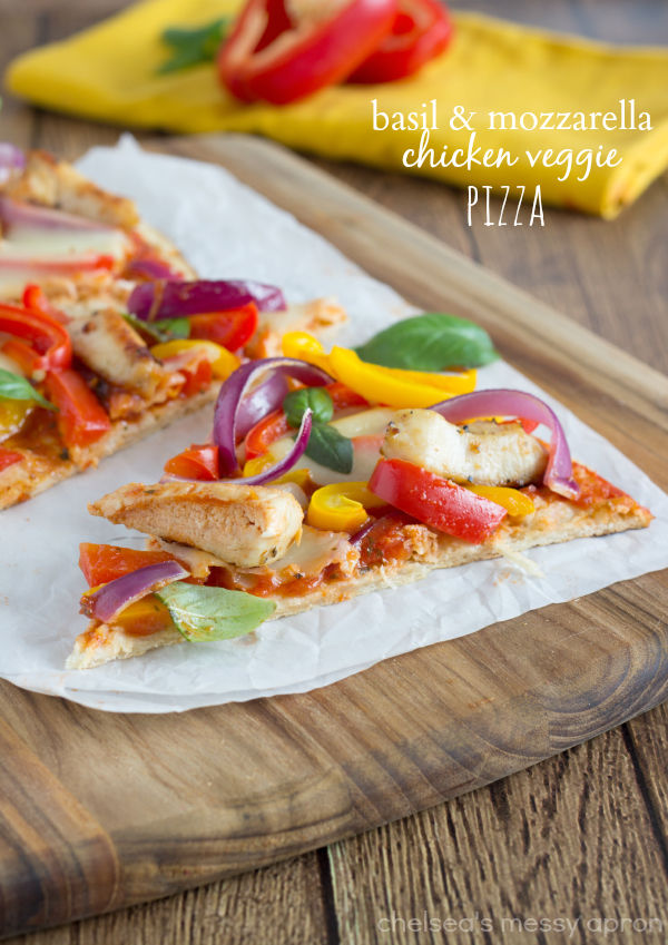 Basil & Mozzarella Chicken Veggie Pizza Pictures, Photos, and Images ...
