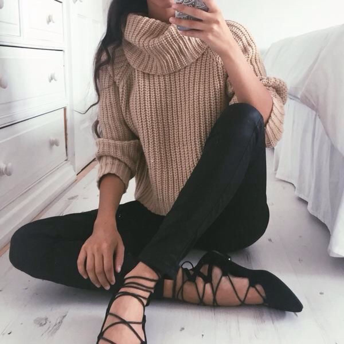 Crochet Sweater With Black Jeans And Ballet Flats Pictures Photos