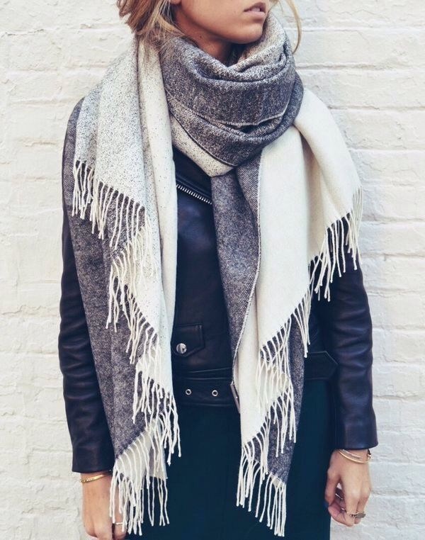black leather jacket with long scarf pictures photos and. Black Bedroom Furniture Sets. Home Design Ideas