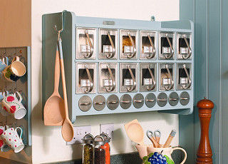 Kitchen Supplies And Goods In Wall Mounted Cabinet