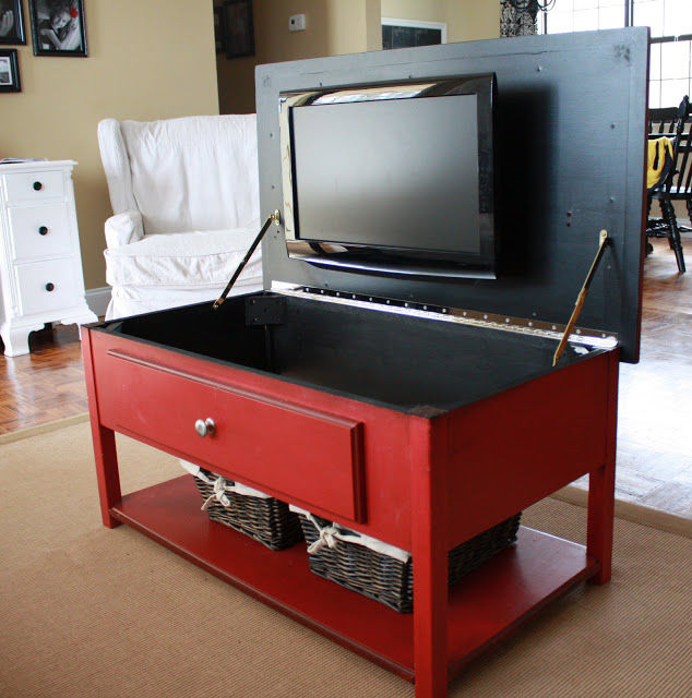 Hidden Tv Storage In Red Cabinet