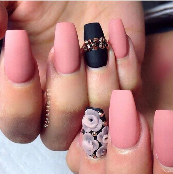 Black And Pink Matte Nails Pictures, Photos, and Images ...