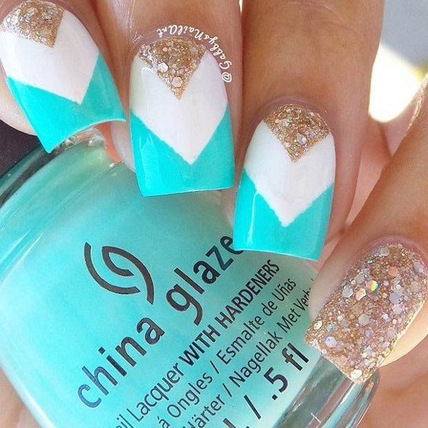 Teal And White Glitter Chevron Nails Pictures Photos And Images