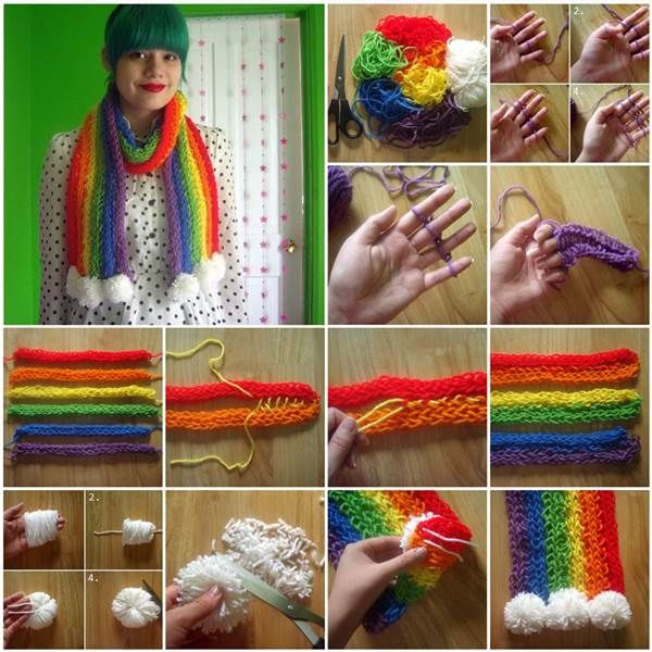 Knitting Pattern For Rainbow Scarf : Rainbow Knit Crochet Scarf Pictures, Photos, and Images for Facebook, Tumblr,...