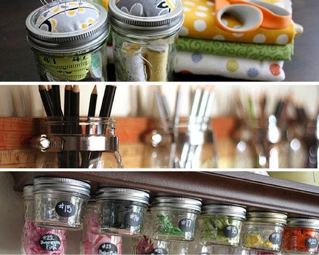 Mason jar craft room organizing idea pictures photos and for Mason jar craft storage