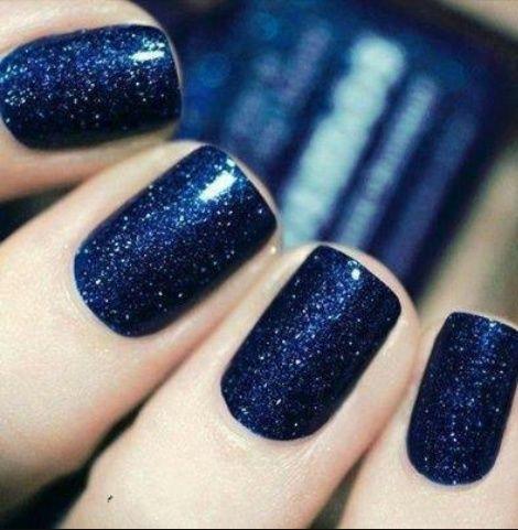 Dark Blue Glittery Nails