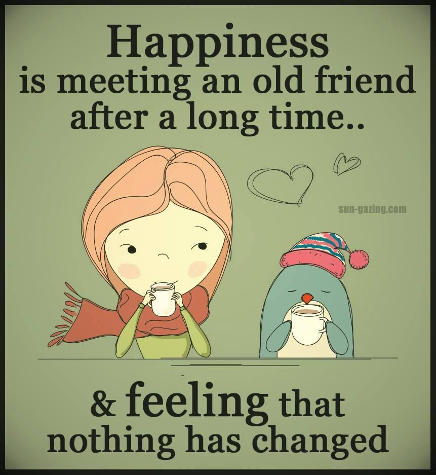 happiness is meeting a friend after a long time and
