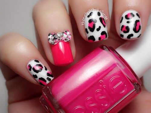 Pink And White Leopard Print Nails