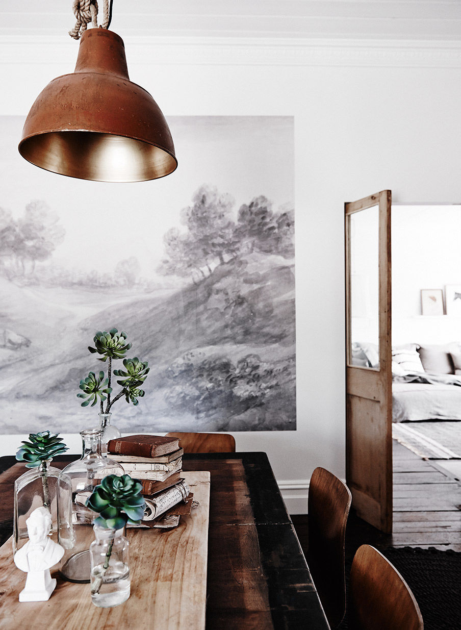 Rustic industrial dining room with wall mural pictures for Create a wall mural