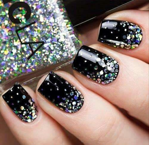 Black Sparkly Nails
