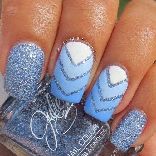 Chevron Blue Glitter Nails Pictures Photos And Images For Facebook Tumblr Pinterest And Twitter