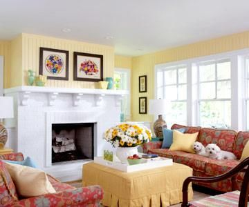 Sunny Yellow Cottage Style Living Room