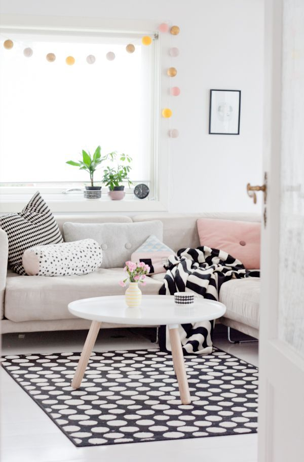 Polka dot rug for the living room pictures photos and for Polka dot living room ideas