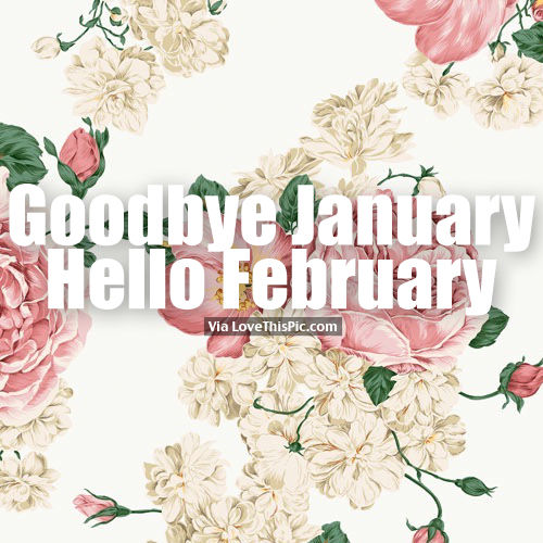 Goodbye January, Hello February, Flower Background Quote
