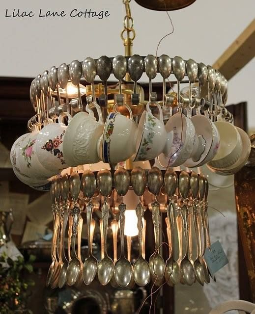 Chandelier Made With Teacups And Spoons Pictures, Photos ...