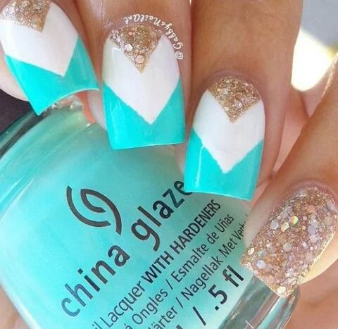 teal white and gold chevron nails pictures photos and