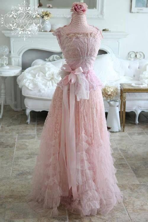 Pretty pink dress with lace ruffles and ribbon pictures for Pink ruffle wedding dress