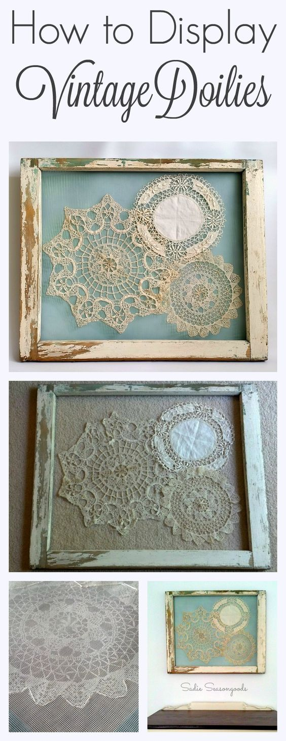 display vintage doilies in old window frames