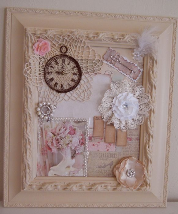 Diy shabby chic framed collage pictures photos and for Shabby chic wall art