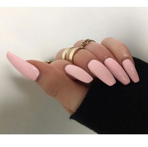 Long Light Pink Nails