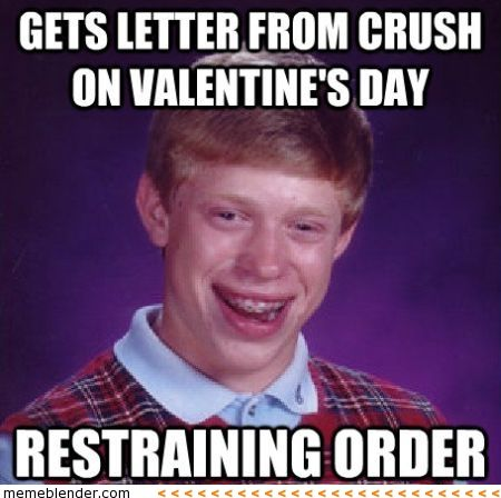 Gets Letter From Crush On Valentine's Day, Restraining