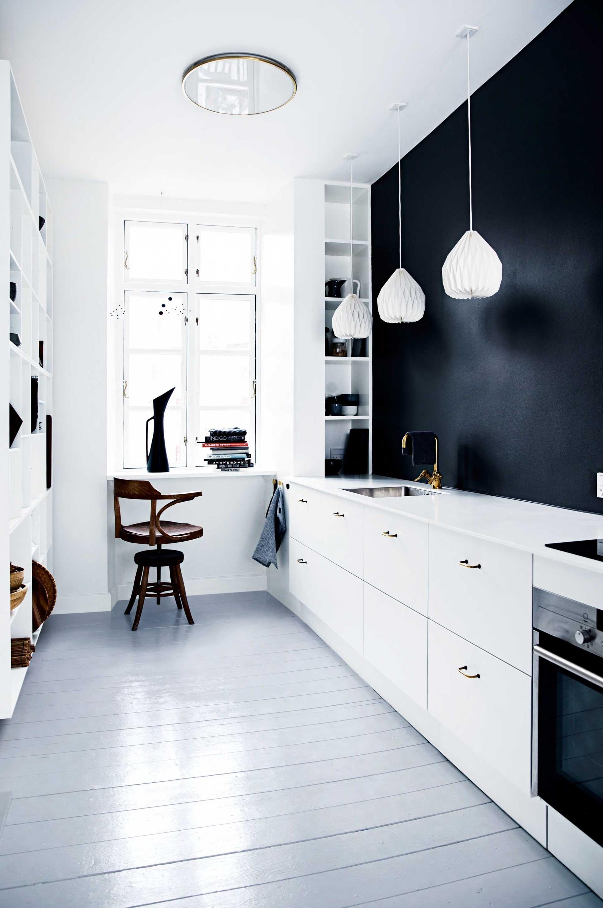black and white minimalistic kitchen design pictures