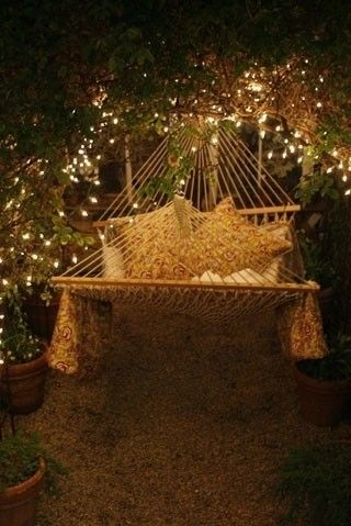Backyard Hammock With Night Lights Pictures Photos And