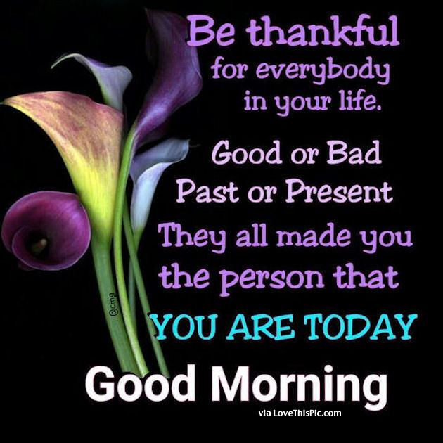 Good Morning Be Thankful For Everybody In Your Life