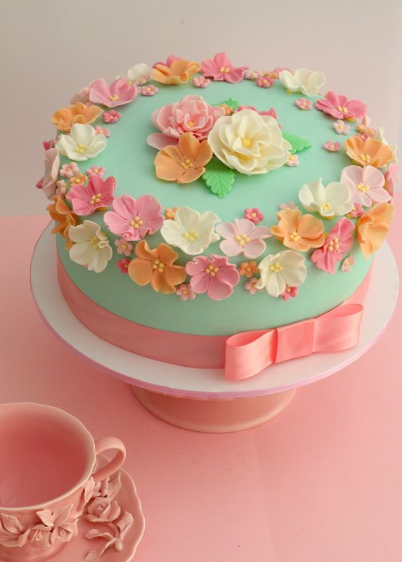 Pretty Pastel Spring Floral Cake Pictures Photos And