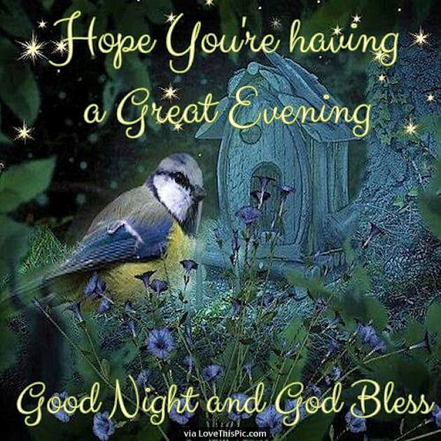 hope you are having a great evening good night and god bless
