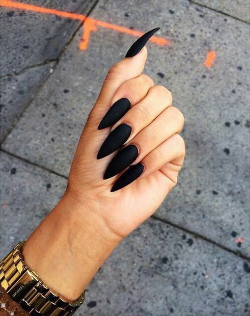 Perfect Black Matte Nails