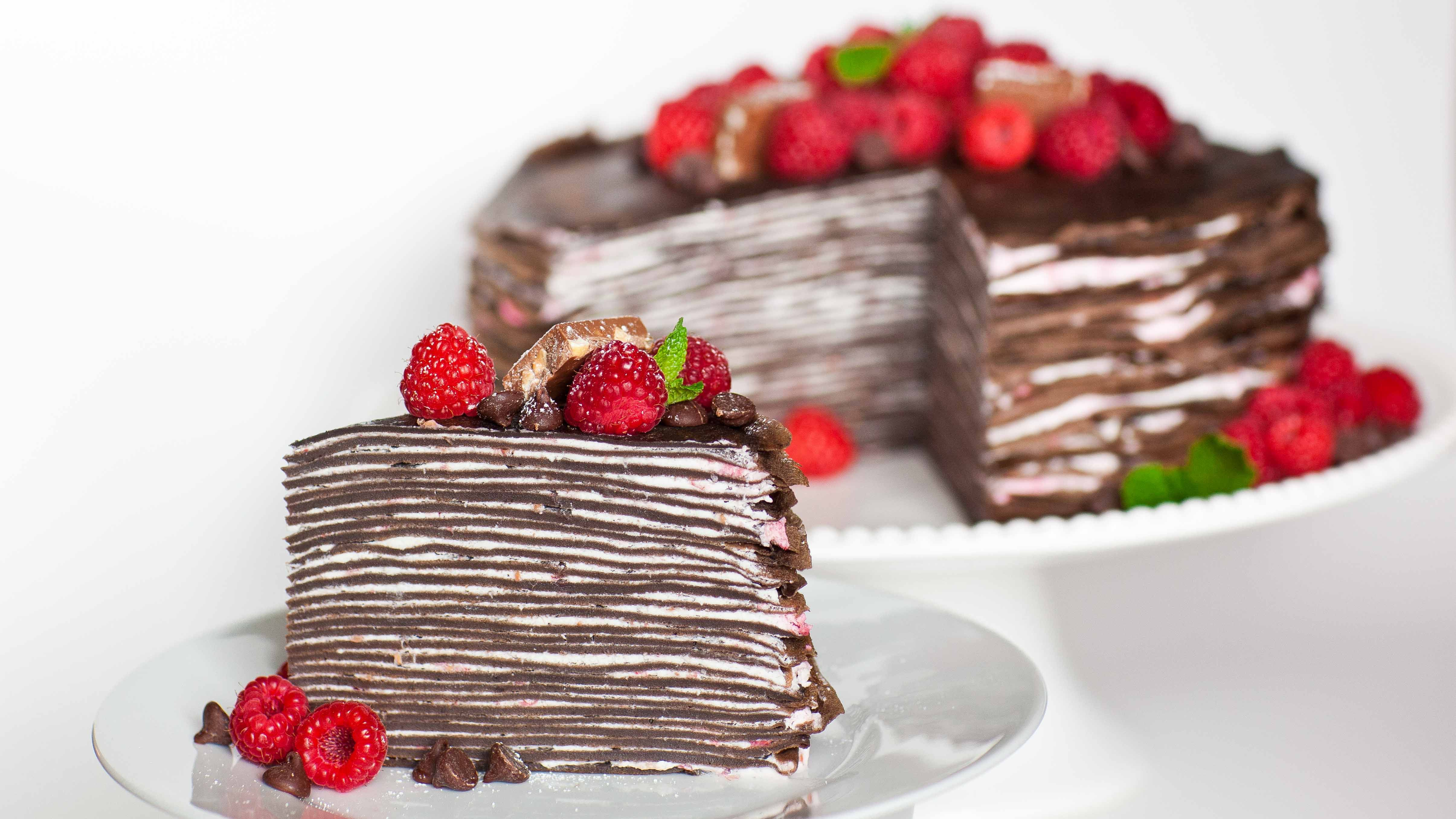 Chocolate Raspberry Crepe Cake Pictures Photos And