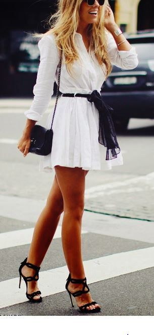 Cute White Dress With High Heels Pictures Photos And