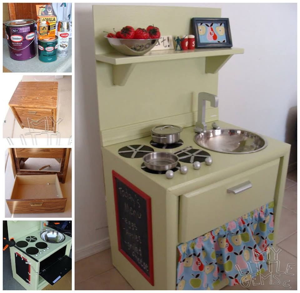 Diy play kitchen 20 coolest diy play kitchen tutorials its always diy play kitchen awesome diy play kitchen from an old nightstand pictures photos and design ideas solutioingenieria Images