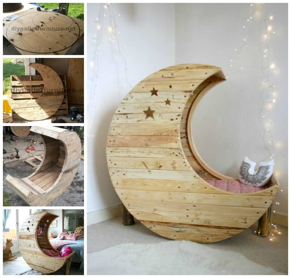 DIY Moon Pallet Crib
