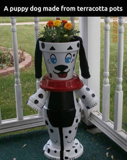 Puppy Dog Made From Terra Cotta Pots Pictures Photos And